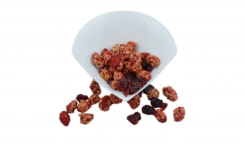 Caramelized Pistachios with Cherry, Sesame and Cranberries